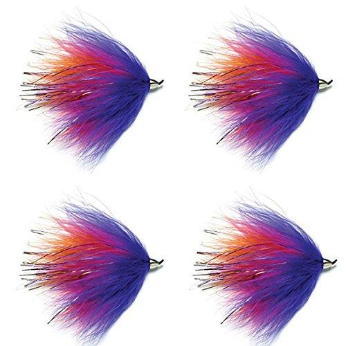 Conehead Popsicle Steelhead and Alaska Fly - 4 Flies Hook Size 10 - Steelhead Salmon or Trout Streamer Flies