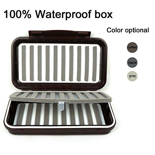 Aventik 100 Waterproof Swing Leaf Fly Box 1000 Flies Capacity Slit Foam for Fly Fishing Flies Coffee