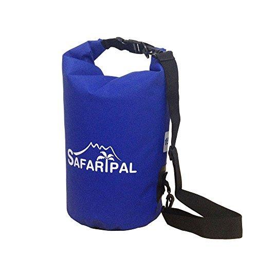 Safaripal 15L Heavy Duty Vinyl Waterproof Dry Bag with Adjustable Should Strap for Boating Kayaking Hiking Snowboarding Camping Rafting Fishing Waterproof Floating Dry Sack Blue 15L