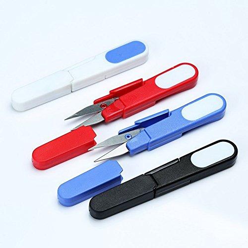 Sun Moon 2PCS Mini U Shape Scissor Beading Thread Cutter Fishing Line U Sewing Scissors with Cap Color Send in Random
