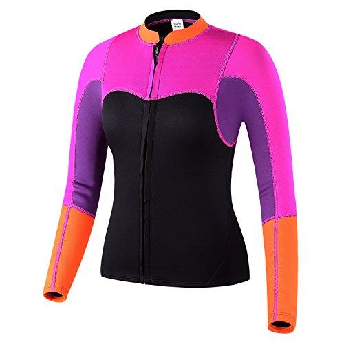 Lemorecn Womens 2mm Neoprene Long Sleeve Jacket Front Zipper Wetsuit Top Tag 3XLarge  US Large Purplerosered