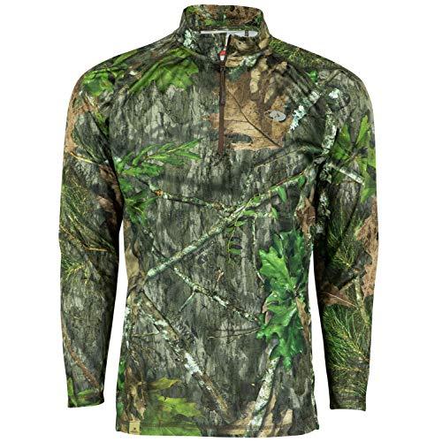 Mossy Oak Long Sleeve Quarter Zip Camo Shirts for Men Mens Hunting Shirts