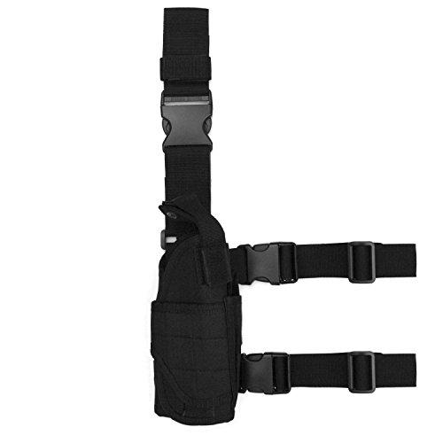 Tactical HolsterLeg HolsterDrop Leg BagGun HolsterFreehawk Military Adjustable Right Leg Handgun Holster Pouch Airsoft Gun Holder Pistol PackPouchCase Bag for HuntingGun Training BLACK