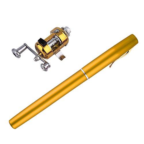 Bleiou Portable Pocket Telescopic Mini Fishing Pole Aluminum Alloy Pen Shape Fishing Rod With Reel Wheel Golden