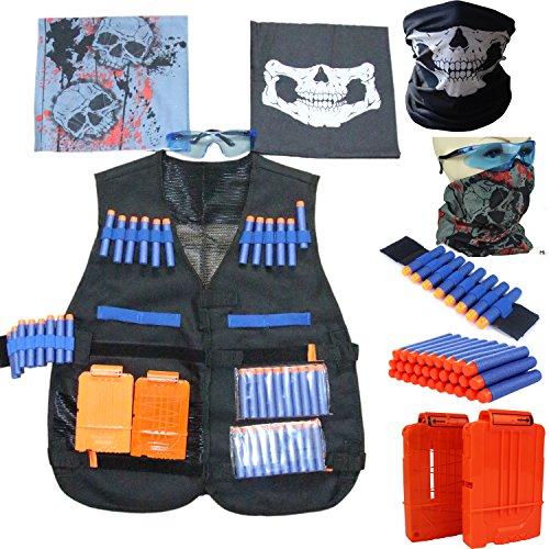 Elite Tactical Vest Kit for Nerf N-strike Elite Series 1 x Tactical Vest 20pcs x toy darts 2 x 6-dart quick reload clip 2x face tube mask 1 x Hand Wrist Band 1 x Protective glasses