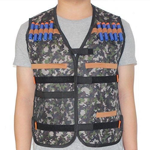 HONGCI Kids Tactical Vest Sets for Nerf Toy Guns N-strike Elite - Jungle comes with 20pcs 72cm Foam Bullets