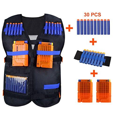 Kids Tactical Vest Kit KINBON Adjustable Boys Nerf Vest for EVA Nerf N-strike Elite Series Kids with 30 Pcs Foam Darts  2Pcs 6-dart Quick Reload Clip  1Pcs 8-dart Wrist Band