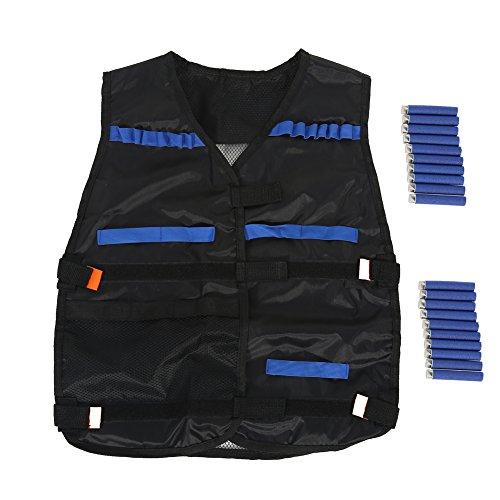 Kids Tactical Vest Kit for Nerf Guns N-Strike Elite Series with 20PCS Bullet Darts Black Nylon