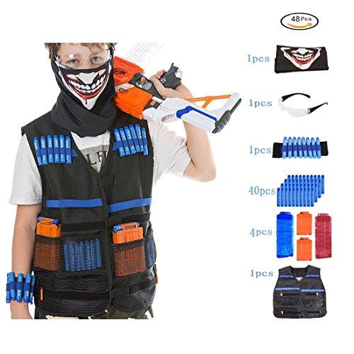 Tactical Vest Kit PeleusTech Kids Tactical Vest for Nerf with 40 Refill Darts  2pcs 12-Dart Magazine Clips  2pcs 6-Dart Magazine Clips  Face Cover  Goggles  Wristband