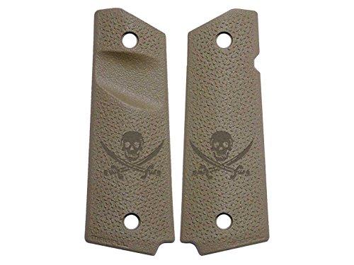 Skull Swords Jolly Roger Engraved Full Size 1911 Magpul Grip Panels TSP Texture MAG544 FDE FLAT DARK EARTH by NDZ Performance
