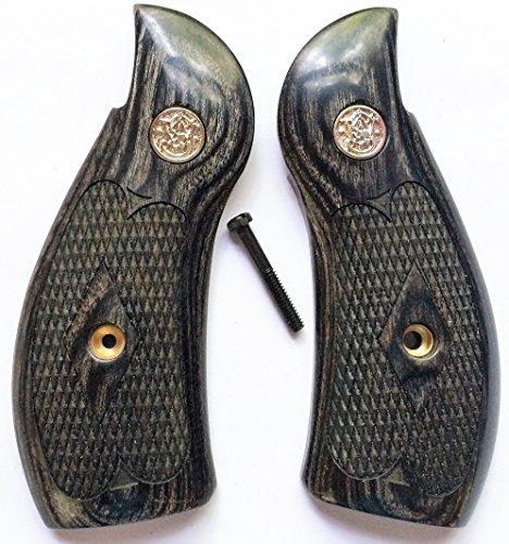 Gun Grip Supply Smith Wesson S&W KL Frame Grips Silverblack Checkered Round Butt