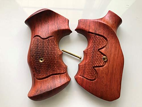 New Grip for Smith Wesson KL Frame Round Butt Revolver Hardwood - Checkered Thai Handmade