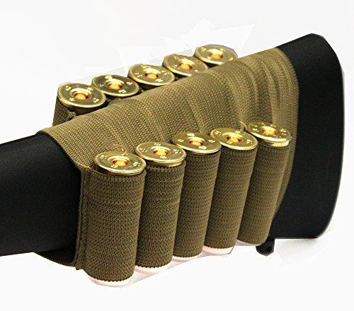 Tan 10 Round Shotgun Ammo Shot Shell Cartridge Hunting Stock Buttstock Slip Over Carrier Holder Fits 12  20 GA Gauge Ambidextrous Hatsan Escort 12 20 Gauge