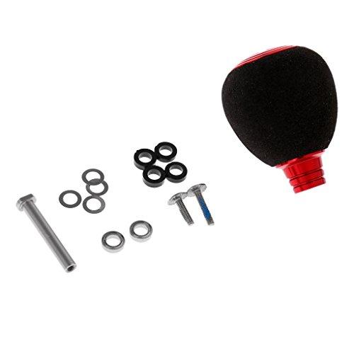 MonkeyJack Ball Knob Power Handle Knob Gear Anti-corrosion for Fishing Baitcasting Reel Handle 2 Stainless Steel Ball Bearings - Red