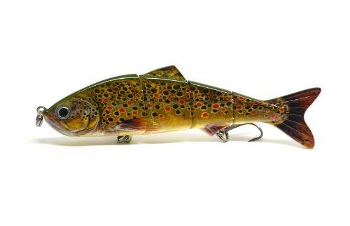 Brown Trout realistic Swimbait Bait for pike and river predators 122mm  17g  4 segments BEST SELLER FISHIN ADDICT