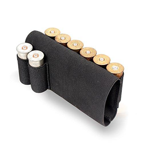 Buttstock Rifle Stock Shotgun Shell Cartridge Holder Cheek Rest Cartridge Ammo Holder Rifle Bullet Tactical Adjustable Remington 870 Savage Maverick 88 Pistol Grip Black 8 Round 12 Gauge Shell black