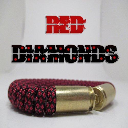 Red Diamonds Paracord 40 Caliber Bullet Casing Bracelet