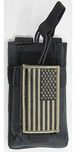 M1Surplus MOLLE Style Black Color Tactical Radio Pouch  PATRIOT FLAG Morale Patch Fits Yaesu FT-25R FT-65R FT2DR VX-170 FT-60R FT250R FT270R VX110 VX120 VX127 VX7R VX8R FTA-550L HT HAM Radios