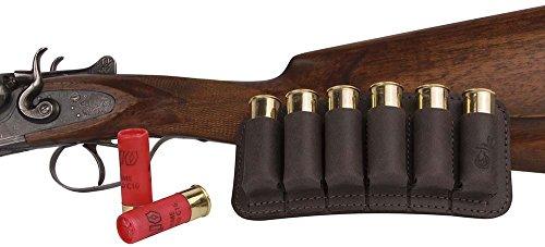 BronzeDog Leather Cartridge Ammo Holder Hunting Leather Cartridge Ammo Bag Belt Holster Leather Shell Cartridge Wallet Ammo Pouch Shotgun Rifle Brown