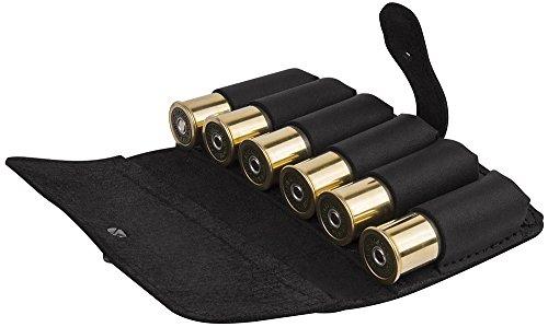 BronzeDog Leather Cartrige Holder Handmade Leather Ammo Pouch Shotgun Rifle Shell Holder Leather Ammo Bag 12Ga 762 cal Hunting Cartridge Belt Carrier Case Black