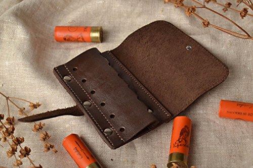 Genuine handmade leather cartridge pouch hunting equipment