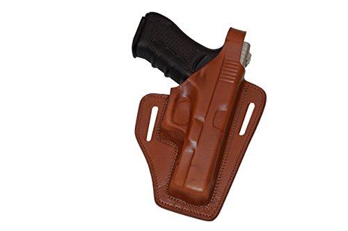 Alis337 2 Slot Pancake OWB Brown Leather Holster Thumb Break Right Hand Fits Glock 17
