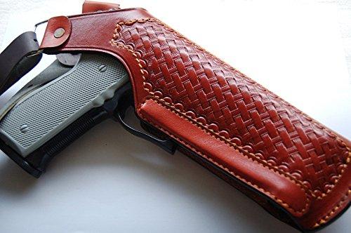 Cal38SH1 Colt Smith Wesson Ruger Remington Sig Taurus 1911 Vertical Shoulder Leather Basketweave Holster TAN