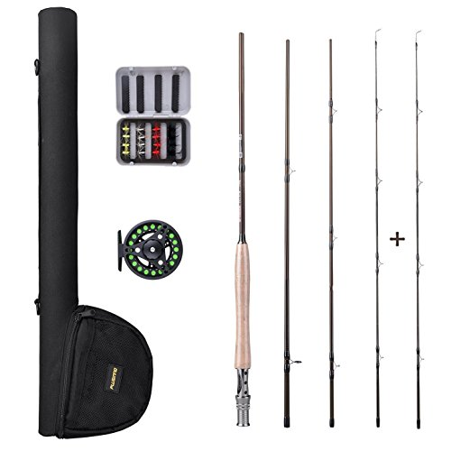 PLUSINNO Fly Fishing Rod and Reel Combo56 9'Lightweight Ultra Portable Graphite Fly Fishing Pole with Toray Carbon Fiber Blanks Chromed Stainless Steel Snake Guides 4-Piece