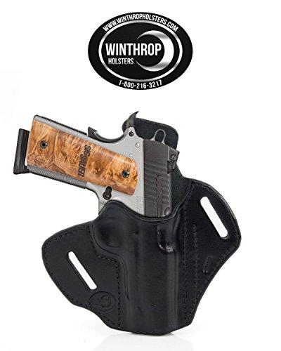 1911 425 - 45 inch barrel Laser Grips NO Rail OWB Shield Leather Holster RH Black - 0351