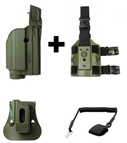 IMI Defense ZSP07 Mag Pouch  Z1500 Level 2 FlashlightLaser Holster Sig Sauer SP250CP250 FS227P220 P226Pro2022MK25 P320 9mm OD Green  Z2200 Drop Leg AdapterUltimate Arms Gear Pistol Lanyard