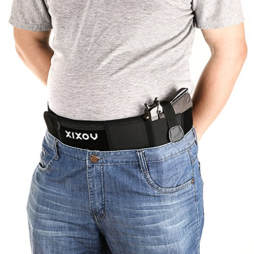 Belly Band Holster XIXOV Concealed Weapon Carry Plate Carrier with Zipper Purse for Women Men Fits Glock 19 17 42 43 Sig P320 P238 Ruger LCP etc