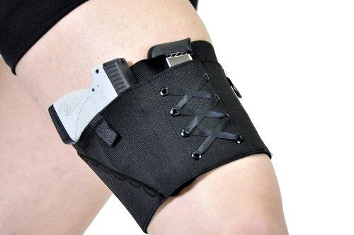 Gun Holster Garter for Women - Black Black Medium 20-22