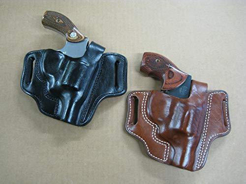 Leather 2 Slot Molded Thumb Break Pancake Leather Revolver Holster for Ruger GP100 4 Barrel Revolver TAN