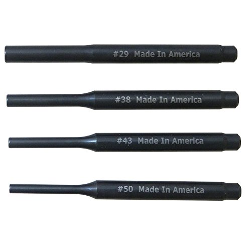 USA made 3 Long Roll Pin Punch Set with Hollow End Starter Tip