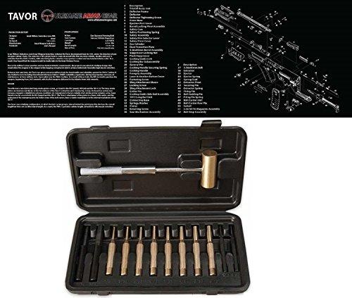 Ultimate Arms Gear Gunsmith Armorers Black Cleaning Work Tool Bench Gun Mat TAVOR 223 556 Rifle  Brass Hammer and Steel Nylon Brass Armorer Roll Pin Punch Set