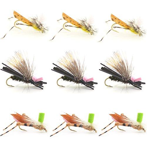 Dropper Hopper Grasshopper Trout Fly Fishing Flies Assortment Foam Body - 9 Flies 3 Patterns Hook Size 10 - Trout Fly Collection