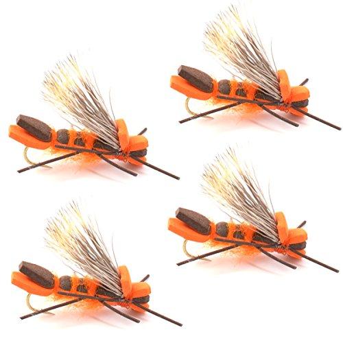 Godzilla Hopper Fly Fishing Flies - Orange High Visibility Grasshopper or Stonefly Dry Fly - 4 Flies Hook Size 8