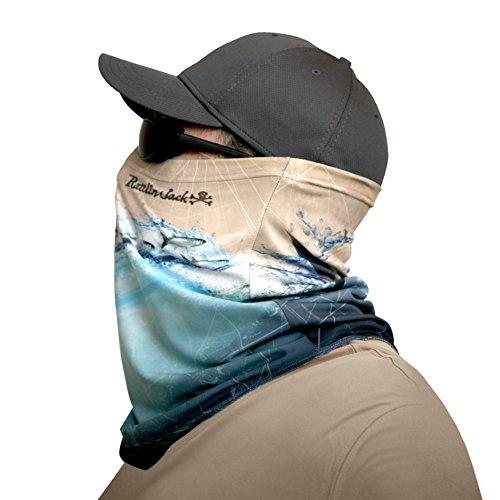 Rattlin Jack Mens Comfort Fit UPF 50 Fishing Sun Mask Tarpon on Taupe and Teal