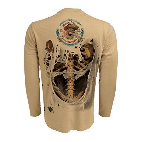 Rattlin Jack Mens UPF 50 Fishing Skeleton Performance Sleeve XL Bone On Tan