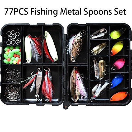 77pcs Hard Metal fishing Spoons Lure Set Luminous Fishing Bait Metal Spoons Spinner Lure for Bass Trout Carp Salmon Panfish Freshwater Saltwater 77pcs Fishing Spoons Set