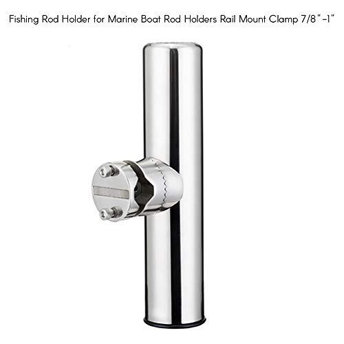 KKmoon 2Pcs Stainless Steel Fishing Rod Holder Fishing Rod Holder for Marine Boat Rail Mount Rod Holders Stainless Steel Rail Mount Clamp 78 to 1