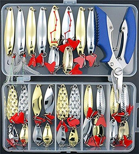 32 pc Fishing Lures Hard Spoon Metal Lures Hard Bait Set Saltwater Fishing Pliers Fishing Lure