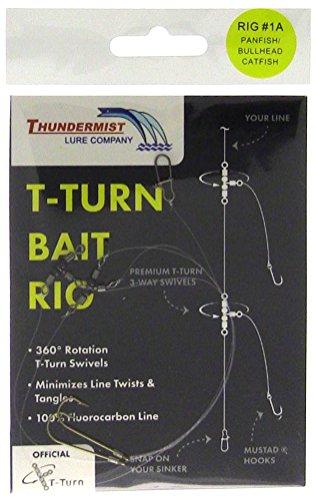 Thundermist Lure Company 1A Freshwater CrappiesSunfishPerchBullhead CatfishPanfish T-Turn Bait Rig Clear