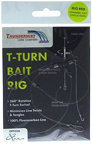 Thundermist Lure Company 8B Channel Catfish Rig with Circle Hook T-Turn Bait Rig Clear