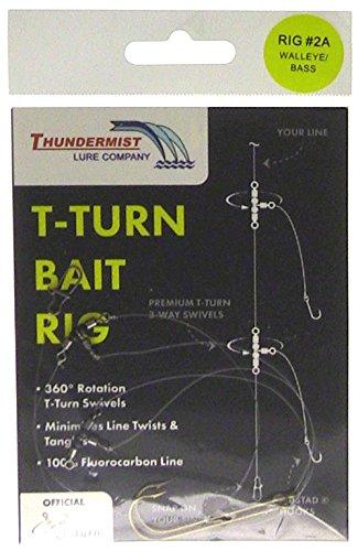 Thundermist Lure Company Bass Walleye Trout Pike T-Turn Bait Rig Clear