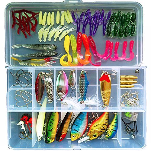 101-Pcs Fishing Lures Kit Set For BassTroutSalmonIncluding Spoon Lures Soft Plastic worms CrankBaitJigsTopwater Lures with Free Tackle Box -by Saimanqiu