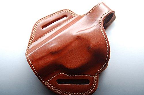 Cal38BL Browning 1911-380 Belt Holster Leather Tan Black LEFT HAND TAN