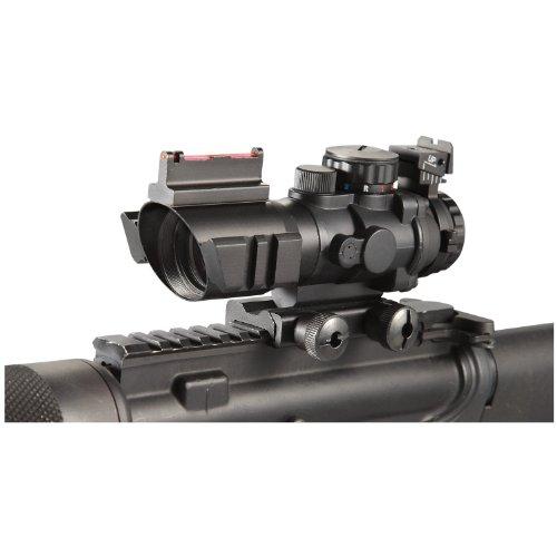 Ade Advanced Optics 4x32 Fixed Power Greenbluered Illuminated Reticle Compact Rifle Scope with Fiber Optic Tactical Sight and Weaver Slots