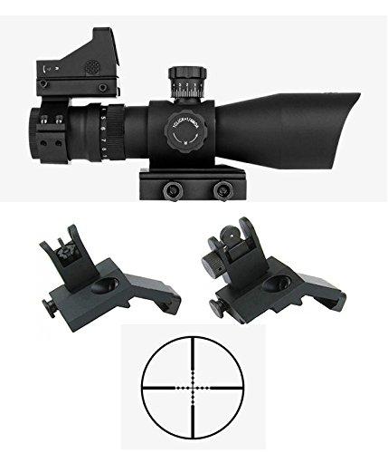 M1Surplus Tactical Optics Upgrade Kit w REDCON 3-9x42 Mil-Dot illuminated Reticle Scope  Compact Dot Sight  Flip-Up Backup Sights  Fits Weaver Picatinny Rails