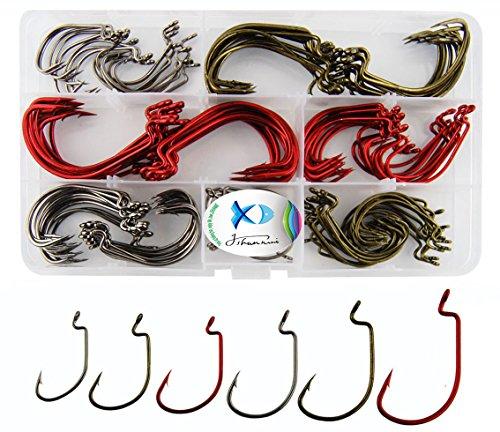 150Pcsbox Worm Senko Bait Jig Fish Hooks 2X Strong Fishing Hooks Set High Carbon Steel Worm Jig Fishing Hook with Box